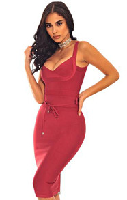 Tie Detail Bandage Dress Burgundy