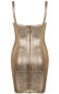 Woodgrain Foil Print Bandage Dress Gold