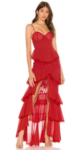 Lace Frill Maxi Bandage Dress Red