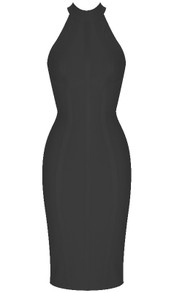 Halter Structured Midi Bandage Dress Black