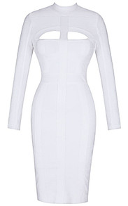 Long Sleeve Cut Out Detail Midi Bandage Dress White