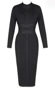 Long Sleeve Ribbed Midi Bandage Dress Black