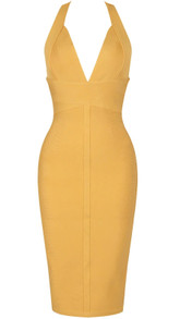 Halter Backless Midi Bandage Dress Mustard
