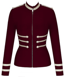 Long Sleeve Officer Bandage Jacket Burgundy