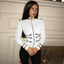 Long Sleeve Officer Bandage Jacket White
