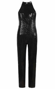 Sequin Halter Jumpsuit Black
