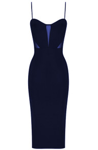 Mesh Insert Midi Bandage Dress Blue