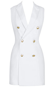Sleeveless Blazer Dress White