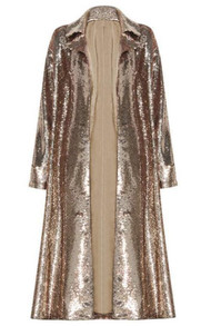 Long Sleeve Sequin Coat Gold