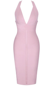 Halter Backless Midi Bandage Dress Pink