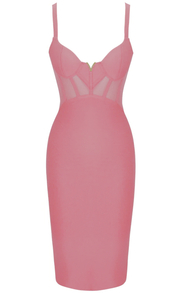 Structured Mesh Midi Bandage Dress Pink