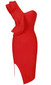 One Sleeve Frill Midi Bandage Dress Red