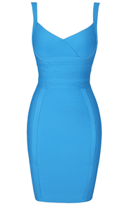 Cross Over Detail Bandage Dress Blue