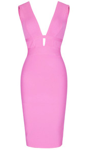 Ribbed Plunge V Neck Midi Bandage Dress Pink