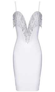 Rhinestone Tassel Bandage Dress White