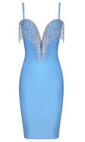 Rhinestone Tassel Bandage Dress Light Blue