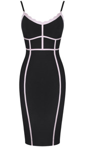 Scalloped Trim Bandage Dress Black Nude