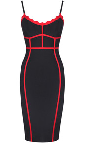 Scalloped Trim Bandage Dress Black Red