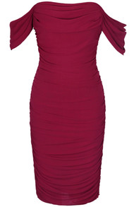 Bardot Ruched Midi Dress Burgundy