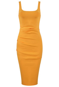 Draped Midi Bandage Dress Orange