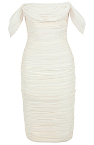 Bardot Ruched Midi Dress White