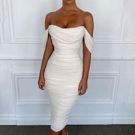Bardot Ruched Midi Dress White