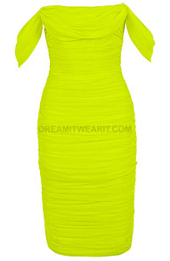 Bardot Ruched Midi Dress Neon