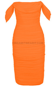 Bardot Ruched Midi Dress Orange