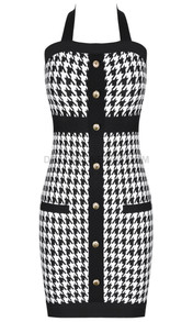 Halter Houndstooth Midi Dress Black White