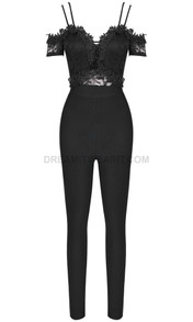 Lace Crochet Bardot Jumpsuit Black