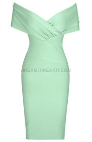 Cross Over Draped Bardot Dress Green