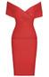 Cross Over Draped Bardot Dress Red