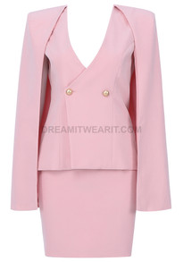 Cape Two Piece Dress Pink