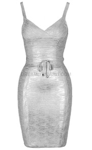 Tie Detail Woodgrain Foil Print Dress Silver