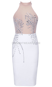 Embellished Mesh Midi Dress White