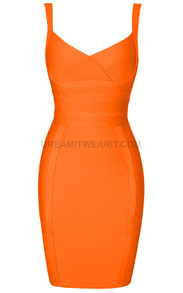Cross Over Detail Dress Orange