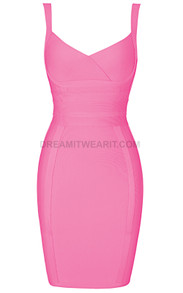 Cross Over Detail Dress Pink