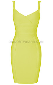Cross Over Detail Dress Yellow