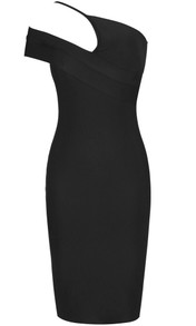 Asymmetric Bardot Midi Dress Black