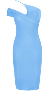 Asymmetric Bardot Midi Dress Light Blue