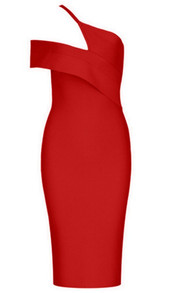 Asymmetric Bardot Midi Dress Red