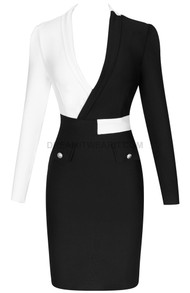 Long Sleeve Dress Black White