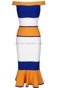 Bardot Fluted Midi Dress Orange Blue White