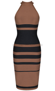 Midi Dress Brown Black