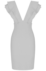 Frill Plunge V Neck Midi Dress White