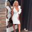 Frill Plunge V Neck Midi Dress White