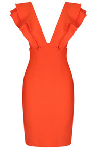 Frill Plunge V Neck Midi Dress Orange