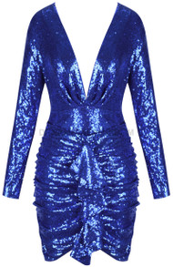 Long Sleeve Ruched Sequin Two Piece Dress Blue