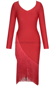 Long Sleeve Asymmetric Tassel Midi Dress Red