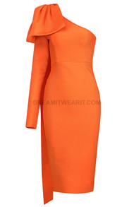 One Sleeve Midi Dress Orange